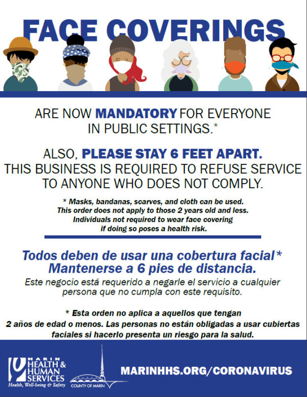 CA Marin County face coverings